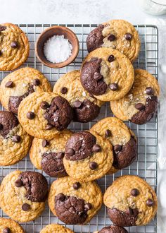 Brownies and chocolate chip cookies together as one! Brookies are the best of both worlds, so you don't have to choose. #cookies #brownies #brookies