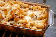This baked ziti is a perfect combination of ricotta, mozzarella, and Parmesan cheeses. Use a ready-made meat-free or ground-beef sauce to top it off.