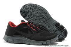 New Blackout Red Nike Free Run 3 574249-006 Mens
