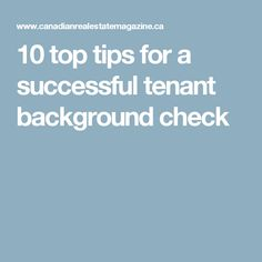 10 top tips for a successful tenant background check