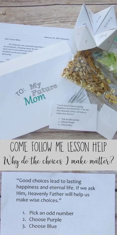 Dear Future Mom – Here is a fun lesson help for Come Follow Me for Why do the Choices I make matter? Our Young Women loved it and yours will too.