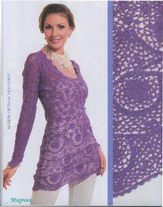 purple long sweater for girls | free chart