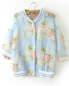 A D O R A B L E  Blue Stand Collar Floral Pockets Jacket US$29.75