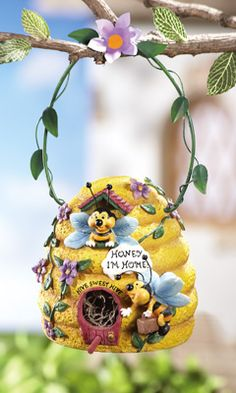 Bee Hive Birdhouse w/ Hanging Hook Whimsical beehive birdhouse attracts songbirds to your yard. It hangs from a vine-inspired handle hook. Clay Projects, Clay Crafts, Arts And Crafts, Bee Hive Plans, Buzz Bee, I Love Bees, Collections Etc, Chicken Art, Bee Art