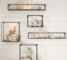 Shop cube display shelves from Pottery Barn. Our furniture, home decor and accessories collections feature cube display shelves in quality materials and classic styles. Wall Decor Set, Modern Wall Decor, Room Decor, Wall Decorations, Beach Theme Wall Decor, Glass Shelves, Wall Shelves, Floating Shelves, Wall Bookshelves