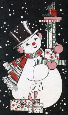 Vintage christmas card snowman with gifts - Christmas Cards Vintage Christmas Images, Old Fashioned Christmas, Christmas Past, Retro Christmas, Vintage Holiday, Christmas Pictures, Christmas Snowman, Vintage Images, Christmas History