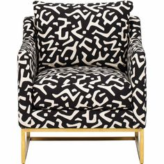 White Accent Chair, Black And White Chair, Accent Chairs, Black White Pattern, White Patterns, Minimalist Pattern, Patterned Chair, Barrel Chair, Cushion Fabric