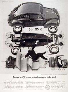 """The legendary VW ad campaign of the 1960′s by New York's Doyle Dane Bernbach – How many brilliant ways can you sell a car? 1960 Volkswagen Beetle Spare Parts original vintage advertisement. There are 5,008 parts in a Volkswagen Beetle. Each authorized dealer has them all in stock or on call.   """"Repair 'em? I've got enough parts to build 'em!"""" print ads, vw beetles, bugs, vintage cars, vintage prints, vintage ads, vw bug, vintage advertisements, volkswagen"""