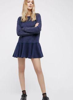 NEW Free People blue Drop Waist Sweatshirt Ruffle Hem Back Tie Tunic Dress L #FreePeople #dropwaistTunic #versatile