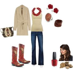 Texas ~ Natural with red, created by #texasbookout on #polyvore. #fashion #style Ralph Lauren #Goldsign