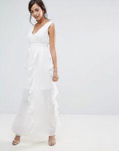 23ee72aa359a Discover Fashion Online Hochzeitskleid, Kleider, Einfaches Weißes Kleid,  Chiffon Rüschen, Rüschen,. ASOS