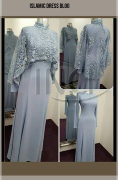 Brokat-Kombinationsrobe – M Islamic Fashion, Muslim Fashion, Modest Fashion, Fashion Dresses, Hijab Evening Dress, Hijab Dress Party, Evening Dresses, Kebaya Hijab, Kebaya Dress