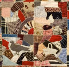 Quilt, Cotton Crazy Quilt  By Nancy Barkey  Late 19th Century
