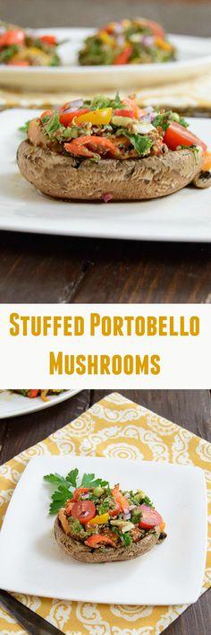 Stuffed Portobello Mushrooms - Mediterranean Seasoning cover these vegan stuffed mushrooms. Low fat but very filling, these mushrooms are perfect for dinner.