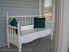 My Repurposed Life--Repurposed Bed jinny lind headboard bench