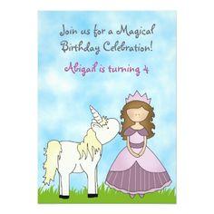 Shop Brunette Princess and Unicorn Birthday Invitation created by TheCutieCollection. 4th Birthday, Birthday Celebration, Unicorn Birthday Invitations, Rainbow Unicorn, Custom Invitations, Backdrops, Princess, Cards, Rainbows