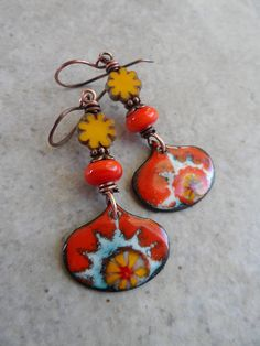 My Sunshine ... Artisan-Made Enameled Copper Charms Lampwork
