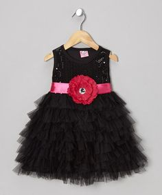 Black Sequin Tulle Dress - Toddler #zulily #zulilyfinds