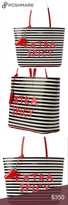 🌺NEW Kate Spade Extra Spicy Chili Pepper Tote BRAND NEW WITH TAG Authentic Kate Spade Gold plated hardware style with Open tote with interior zipper and slide pocket! kate spade Bags Totes