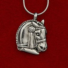 Dressage horse head pendant with classic ribbon
