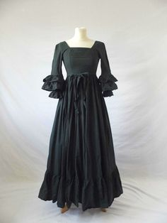 VINTAGE LAURA ASHLEY Dress WALES Milkmaid Frill Victorian Prairie Black Uk 6-8 #LAURAASHLEY #VictorainMilkmaidInspiredDress