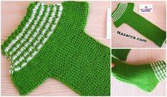 Colorful Harvasho Booties Pattern Knitted in Two . Easy Knitting, Knitting Socks, Knitting Patterns Free, Crochet Patterns, Crochet Motifs, Crochet Stitches, Knit Crochet, Two Needle Socks, Knit Baby Shoes