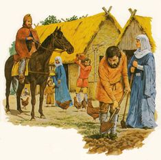 Some scholars are of the belief that the Phrygian cap is not actually of the period. Medieval Houses, Medieval Life, Vikings, Viking Village, Viking Culture, Early Middle Ages, Funny New, Anglo Saxon, Prehistory