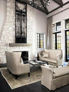 ♛ White Stone Fireplace With Cast Iron Door #Home #Decor #Design  ༺༺  ❤ ℭƘ ༻༻   IrvineHomeBlog.com