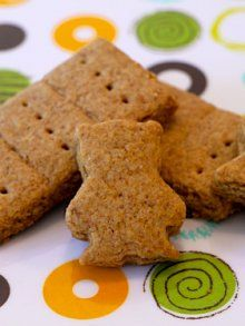 Homemade Graham Crackers- made with a combination of white and whole wheat flour, dark brown sugar, butter and honey.  So delicious.  My 3-year old son loved making them this morning.