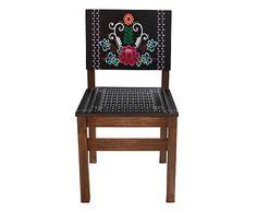 Cadeira Frida Flor - Preta