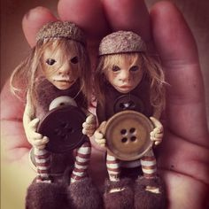 Twins polymer clay art dolls