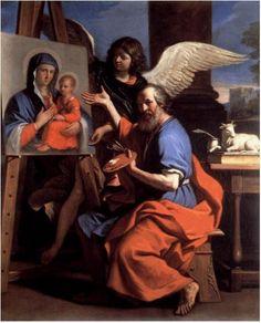 Luke evangelist Guercino - Odigitria -San Luca che mostra un dipinto della Vergine (1652-1653). Questo dipinto del Guercino raffigura la creazione dell'icona della Vergine Odigitria.