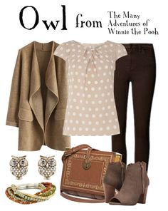 """""""Owl"""" by waywardfandoms ❤ liked on Polyvore featuring Chicwish, Accessorize, Billie & Blossom, XOXO, Robert Lee Morris, disney, disneybound and winniethepooh"""