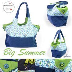 `•.¸¸.•´¯`•. Jakaster .•´¯`•.¸¸.•`: Big Summer {Probenähen} Stofftasche, Stoffbeutel, Tasche, bag, tote, marketbag, nähen, sew, Geschenk, gift, present, Plastik vermeiden, no plastik, Stoff, fabric, cloth, Baumwolle, blau, grün,
