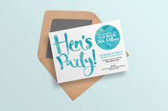 Hens party invites Hens night invitations by ThePrintableShopcom Hens Night Invitations, Beach Wedding Invitations, Bridal Shower Invitations, Invites, Reception Design, Watercolor Invitations, Diy Wedding, Place Card Holders, Beach Weddings