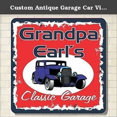 Custom Antique Garage Car Vintage Sign New Look Hot Wall Decor Classic Rod Signs Home Bar Personalized. Make your man cave, garage or workshop your own with our antique car personalized sign! This retro design features a two-tone spray paint border with a bold red background. A blue antique auto is parked at the center under your custom name. Our nostalgic wall art makes a great gift for classic car lovers! We combine shipping for multiple purchases. If you would like a quote on the…