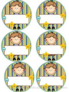 Badges for Kindergarten Children - Preschool Children Akctivitiys First Day Of School, Pre School, School Days, Sunday School, Classroom Labels, Classroom Decor, Kindergarten, School Frame, School Labels