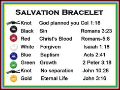 Salvation Bracelet - Personalized Photo Charms Compatible with Pandora Bracelets. A scriptures card to correlate with each color bead on a Salvation Bracelet. Bible School Crafts, Sunday School Crafts, Bible Crafts, Faith Crafts, School Kids, Vbs Crafts, Church Crafts, Camping Crafts, Bead Crafts