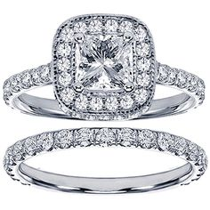 18k White Gold 2 1/2ct TDW Princess Diamond Bridal Set   Overstock.com Shopping - The Best Deals on Bridal Sets