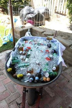 """Love this concept, or perhaps a cooler that has a """"wagon look"""" if you don't have a clean wheelbarrow for my baby's farm party Petting Zoo Birthday Party, Cowgirl Birthday, Cowgirl Party, Farm Birthday, 4th Birthday Parties, Birthday Ideas, Cowboy Theme, Barn Parties, Western Parties"""