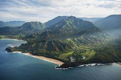 Garden Isle - Aerial shot of this beautiful garden isle of Kauai, Hawaii.