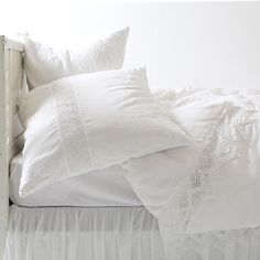 The Cluny Lace Bedding Collection pairs soft, washed linen with cotton lace for dreamy repose. The white design is finished with a hidden zip closure for sophisticated functionality. Shabby Chic Sheets, Shabby Chic Bedrooms, Bedroom Vintage, Shabby Chic Furniture, Modern Bedroom, Stylish Bedroom, Lace Bedding, Chic Bedding, Bedding Shop