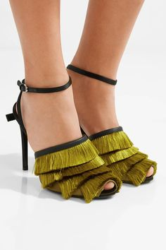 Heel measures approximately 95mm/ 4 inches Chartreuse and black satin, black leather Buckle-fastening ankle strap Made in Italy