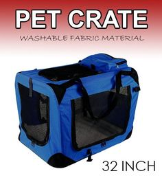 New Large Dog Pet Puppy Portable Foldable Soft Crate Playpen Kennel House - Blue ** Special dog product just for you. See it now! : Dog kennels