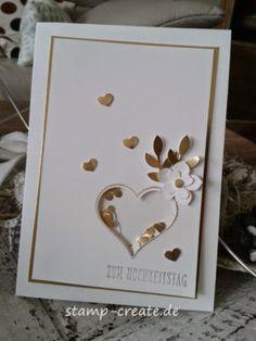 nice idea - Das Herz ist ein Schüttelrahmen - Stamp and Create: Die goldene 50 50th Anniversary Cards, Golden Anniversary, Karten Diy, Shaker Cards, Love Cards, Valentine Day Cards, Creative Cards, Greeting Cards Handmade, Scrapbook Cards
