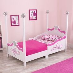 kidkraft princess toddler bed - silver - painted in silver tone