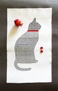 PATTERN cross stitch blackwork cat embroidery by LaMariaCha