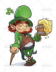 Dwarf with Beer. Illustration For Saint Patricks - People Characters patricks day leprechaun O Leprechaun, Leprechaun Tattoos, Saint Patricks Day Art, Happy St Patricks Day, Tierischer Humor, Desserts Valentinstag, Erin Go Bragh, Kobold, Arte Pop
