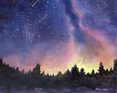 Watercolor Night Sky Painting Print by TheColorfulCatStudio