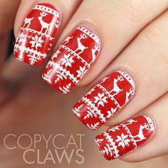 Christmas Sweater Nail Stamping MoYou London Festive 06